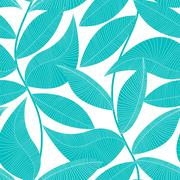 Turquoise and white tropical leaf seamless pattern - stock illustration