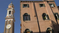 Chiesa di Santi Apostoli tower seen from Rio de S. S. Apostoli in Venice Stock Footage