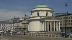 Driving next to St. Alexander's Church in Warsaw Stock Footage