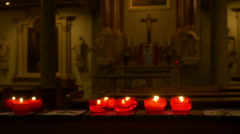 Red candles in a church Stock Footage