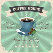 Stock Illustration of Coffee house poster design with cup of coffee in retro style.