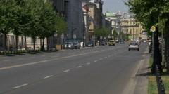 Traffic on Aleje Ujazdowskie street in Warsaw Stock Footage