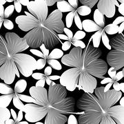 Stock Illustration of White tropical hibiscus flower with frangipani seamless pattern