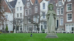 Courtyard of the Begijnhof. Amsterdam, The Netherlands Stock Footage