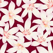 White tropical hibiscus floral design seamless pattern - stock illustration