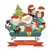 Family celebrating Christmas Stock Illustration