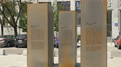 Engraved colums at the Monument for Freedom of Speech in Warsaw Stock Footage