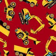 Work area construction vehicles seamless pattern Stock Illustration