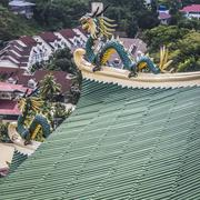 Pagoda and dragon sculpture of the Taoist Temple in Cebu, Philippines. Stock Photos