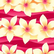 Yellow and pink tropical floral seamless pattern on wave background Stock Illustration