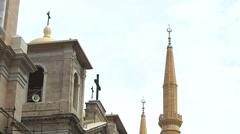 Church and mosque side by side in Beirut, Lebanon Stock Footage