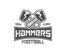 Stock Illustration of American football label. Hammer logo element innovative and creative inspiration