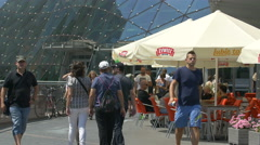 Outdoor cafe at Golden Terraces Shopping Mall in Warsaw Stock Footage