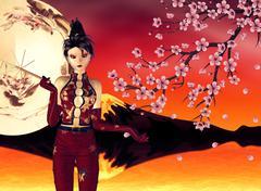 Asian Girl with Sakura Stock Illustration