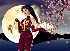 Asian Girl with Sakura - stock illustration