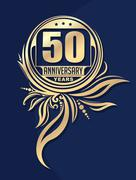 Vintage anniversary 50 years unusual round floral emblem. Retro styled vector - stock illustration