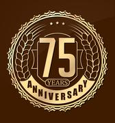 Vintage anniversary 75 years round emblem with ears. Retro styled vector back - stock illustration