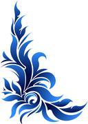 Vector decorative floral corner in blue tones. Stock Illustration