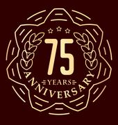 Vintage anniversary 75 years round emblem in monoline style. Retro styled vec - stock illustration