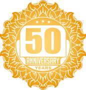 Stock Illustration of Vintage anniversary 50 years round emblem in Sun style and colors.
