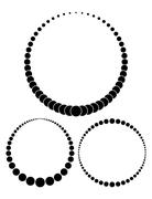 Set of three unusual vector round frames made from little different sized cir - stock illustration