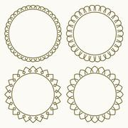 Set of 4 thin very simple stylish round decorative frames in mono line style  Stock Illustration