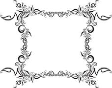Stock Illustration of Unusual, decorative lace ornament, vintage frame with square empty place for