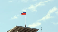 Tricolor Russian flag fluttering in the wind Stock Footage