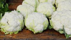 Fresh Cauliflower at market Stock Footage