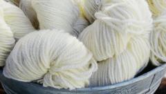 Skeins of white wool yarn Stock Footage