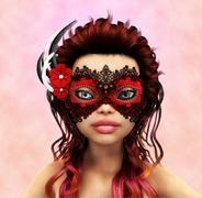 Brunette in carnaval mask - stock illustration