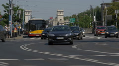 Traffic at a roundabout in Warsaw Stock Footage