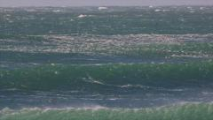 Raging sea with furious waves and fierce wind furious ocean. - stock footage
