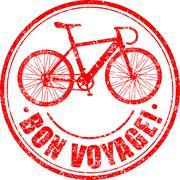 Bon voyage grunge rubber stamp with stylised bike - stock illustration