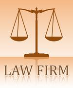 Abstract vector scales with caption LAW FIRM mirror reflection in light tones Stock Illustration