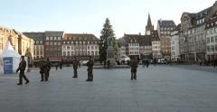 Army solider in French city - security measure after attacks Stock Footage