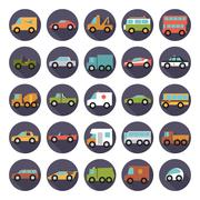 Stock Illustration of Automobiles Flat Design Vector Icons Collection