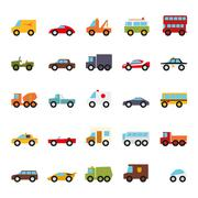 Automobiles Flat Design Vector Icons Collection Stock Illustration