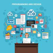 Programming Concept Illustration - stock illustration