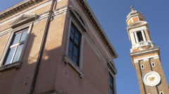 The Bell Tower of Santi Apostoli Church in Venice Stock Footage