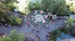 Tibidabo amusement park, viking ships on water Stock Footage