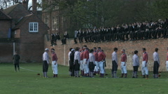 Eton Wall Game St Andrews Day 2015. Oppidans greet Collegers in face off Stock Footage