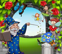 Wizard and fairies flying in garden - stock illustration