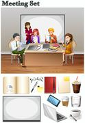 Business meeting with people in the room - stock illustration