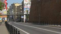 Small bridge over Tamka street in Warsaw Stock Footage
