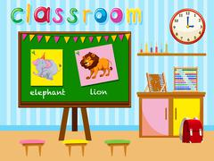 Kindergarten classroom with board and chairs Stock Illustration