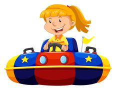 Little girl riding in bump car Stock Illustration