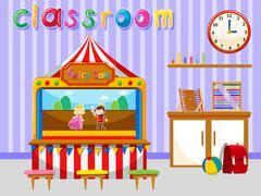 Classroom for kindergarten students - stock illustration