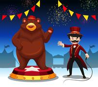 Ring master and bear at circus show - stock illustration