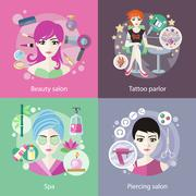 Set of Salons, Beauty Tattoo, Piercing Stock Illustration